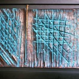 IMPREVEDIBILE, LEGNO E BRONZO, ANNI 90, cm 80 x 200