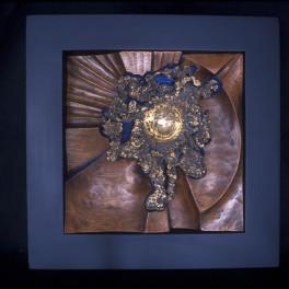 CORA, LEGNO E BRONZO, ANNI 90, cm 40 x 40