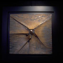 EMERSIONE, LEGNO E BRONZO, ANNI 90, cm 100 x 90