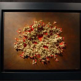 TERRA E FUOCO, LEGNO E BRONZO, 2010, cm 80 x 90