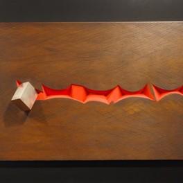 PERCORSO COSMICO, LEGNO E BRONZO, 2009, cm 55 x 80