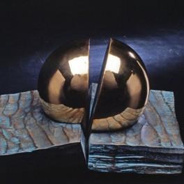 UNISONO, LEGNO E BRONZO, ANNI 90, cm 35 x 35